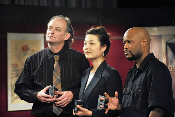Owings Mills, MD -- 4/19/11 -- md-stations-p-hairston --Left to right, Gary Kachadourian, Audrey Chen and Shodekeh, 2011 Baker Artist Award winners after taping in a Maryland Public Television studio. Kim Hairston [Sun Photographer] #5129
