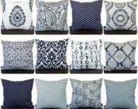 Blue & White Patterned and Solids Pillow on Etsy.