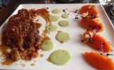 Pork, ginger bread, pepper puree with carrot and papaye