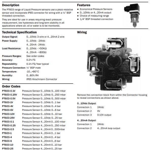 https://bmsparts.co.uk - PT603 Pressure Sensor