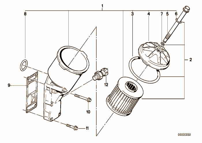Lubrication system-Oil filter BMW E36 318is M42, Coupe