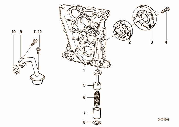 Lubrication system/Oil pump with drive BMW E36 316i M43