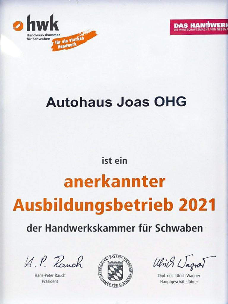 Auszeichnung anerkannter Ausbildungsbetrieb HWK 2021