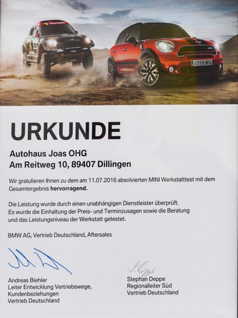 Auszeichnung Urkunde Mini Werkstatttest