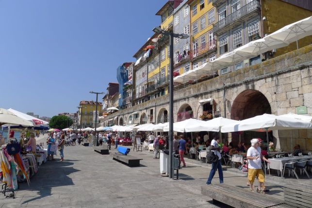 Restaurants on the Duoro river in Porto