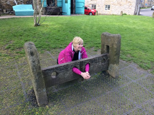 Wendy in the Stocks at Eyam