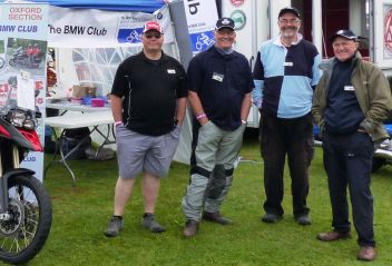 02 BMW Club Oxford stand Ian Dobie, Geoff Clough, David Shanks Brackley Festival of Motorcycling 20140817 more cropped