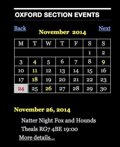 New Oxford Section Google Calendar