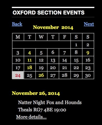 New Oxford Section Google Calendar