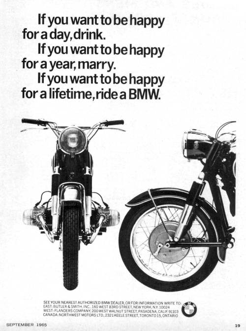 small resolution of here is the famous 1965 bmw motorcycles happy for a lifetime advertisement
