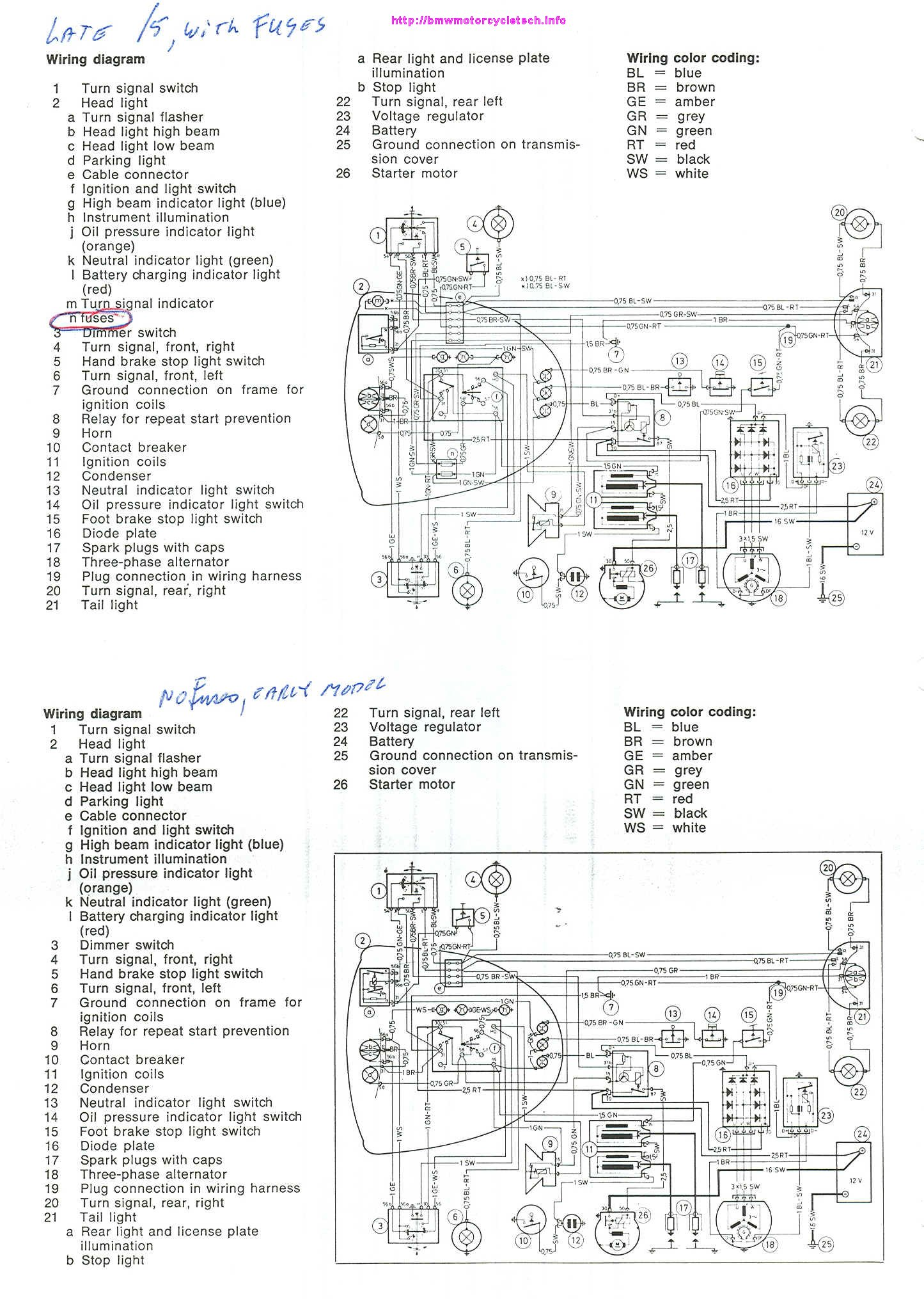 hight resolution of schematic diagrams for both early and late 5 early model had no fuses