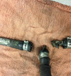 n63 turbo coolant hoses leaking when they start to leak they leak onto a 3 way by pass hose when the coolant gets on the 3 way hose the 3way is  [ 2048 x 1536 Pixel ]