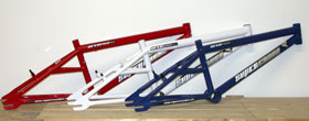 DEVO frames in red white and blue