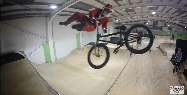 Santa Claus Rides BMX