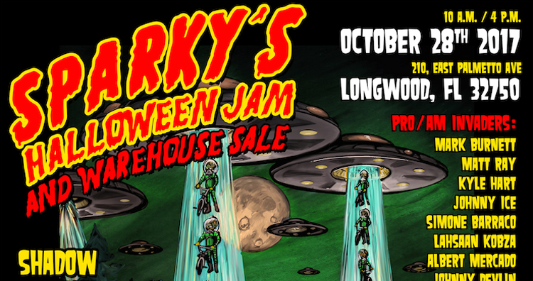 Sparky's Halloween Jam and Warehouse Sale Flyer