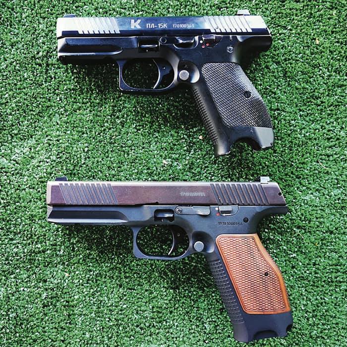 <strong>ПЛ-15к / SP-1 (гражданская версия ПЛ-15)</strong><br /> Тактико-технические характеристики. Пистолет сверху. Масса: 0,72 кг // Длина: 180 мм // Длина ствола: 92 мм // Патрон: 9x19 мм Парабеллум // Магазин: 14 патронов. Пистолет снизу. Масса: 0,8 кг // Длина: 205 мм // Длина ствола: 112 мм // Патрон: 9x19 мм Парабеллум // Магазин: 16 патронов