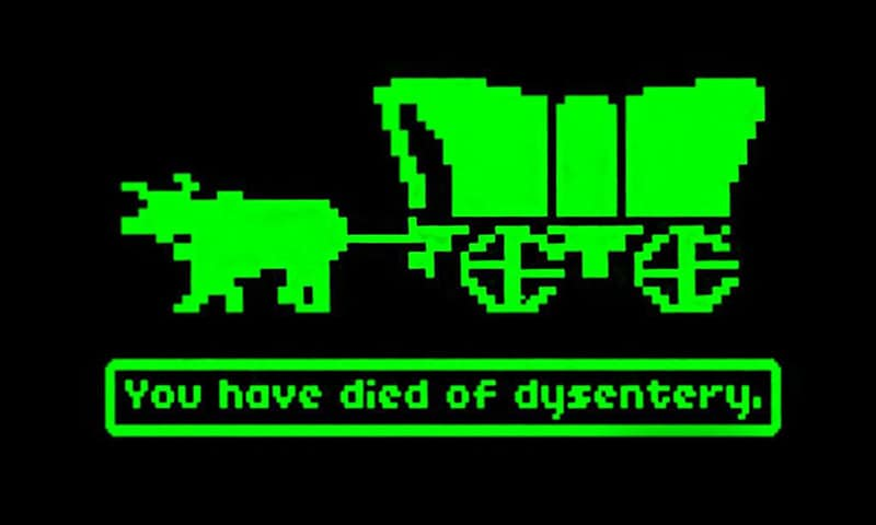 """«Вы умерли от дизентерии» Скриншот из игры """"The Oregon Trail"""" («Орегонская тропа»)"""