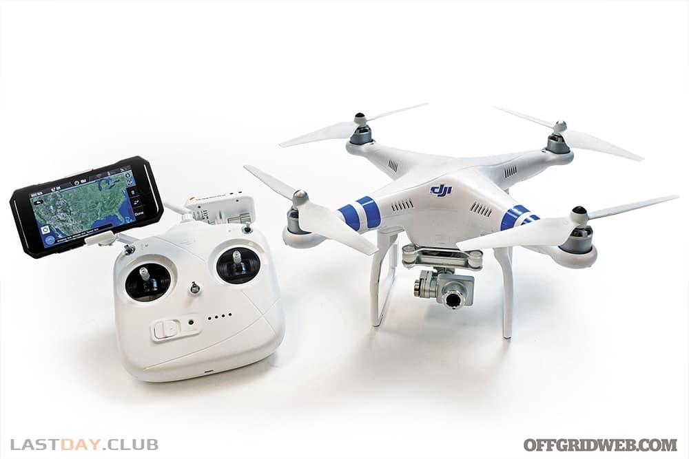 Некоторые дроны, например как этот DJI Phantom 2 на фото, работают с приложением на смартфоне, позволяя планировать маршруты и смотреть изображение с камеры с реальном времени.