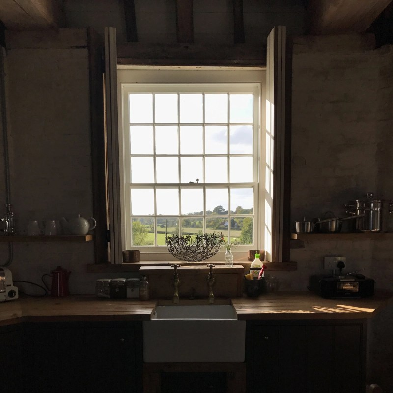 kitchen window looking out on kentish countryside