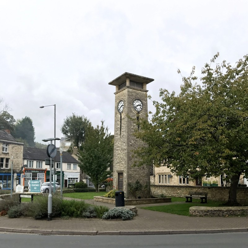 the central clock tower in Nailsworth, England