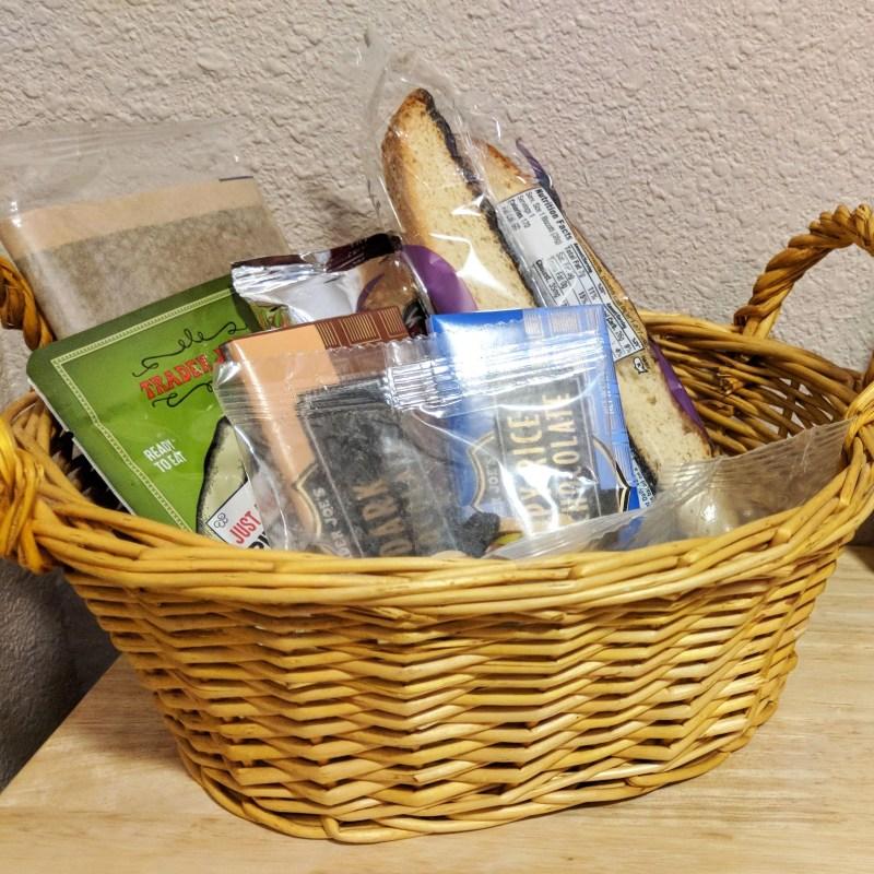 wicker basket of trader joes snacks