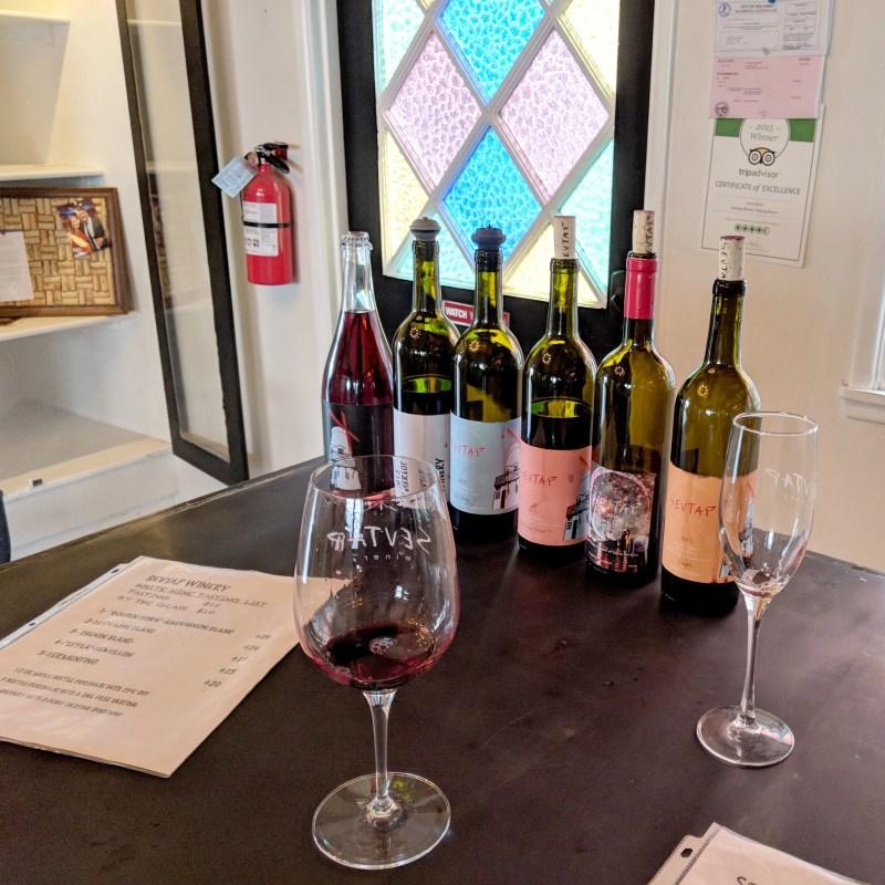wine tasting at Sevtap in Solvang, California