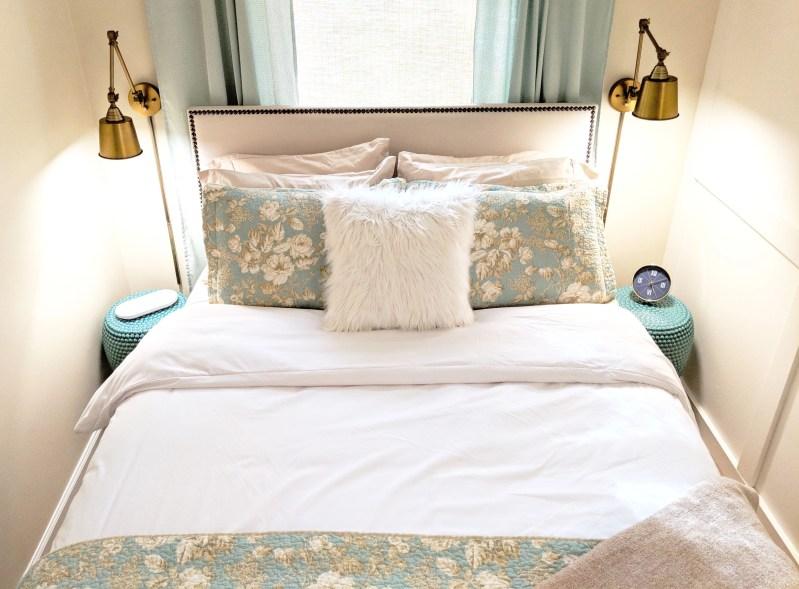 top down shot of beautiful bed