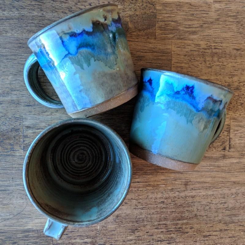 handthrown mugs in an Airbnb