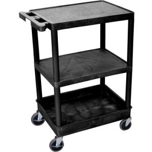 "Luxor 24x18"" HD Utility Cart/3-Shelf (Black)"