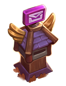 Mailbox is purple and resembles those from World of Warcraft.