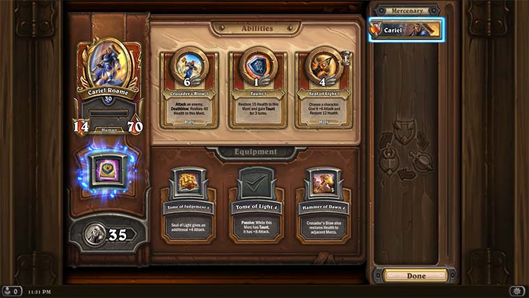 Collection Screen shown, where you can upgrade abilities and equipment. You can access this from the Tavern within the Mercs village.