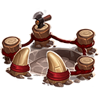 It's a tiny picture of the fighting pit, one of the buildings from the village (used for PVP!) check out the village blog for more about the fighting pit.