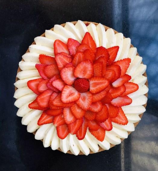 Tarte aux fraises et à la crème diplomate