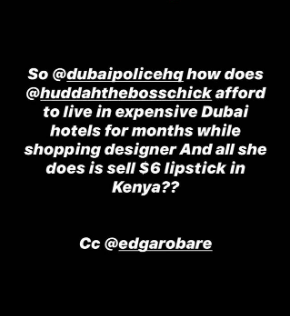 How does Huddah make her money?