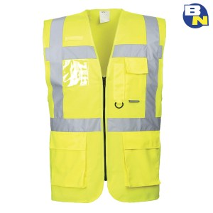 Abbigliamento-Pro-gilet-ad-alta-visibilità-multitasche-giallo