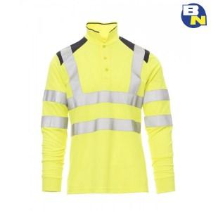 Abbigliamento-Pro-polo-ad-alta-visibilità-a-manica-lunga-gialla
