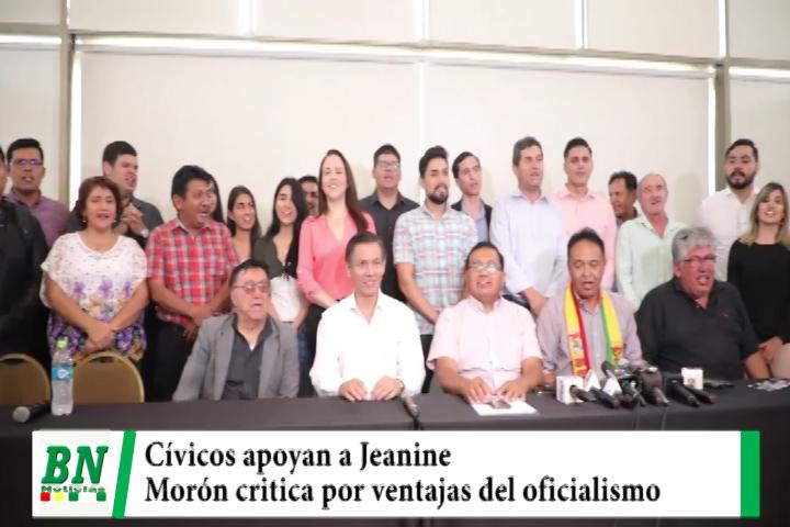 Elección 2020, Cívicos apoyan candidatura de Añez mientras Morón del MNR critica ventajas