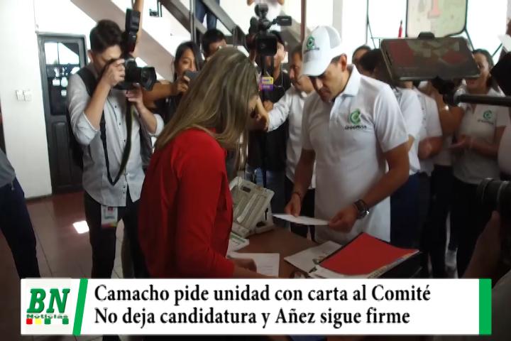 Elección 2020, Camacho pide unidad y deja carta al Comité pero no deja candidatura, Juntos asegura buen resultados con Añez