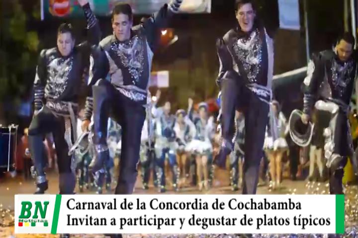 Invitan a participar del Carnaval de la Concordia en Cochabamba y degustar de platos típicos