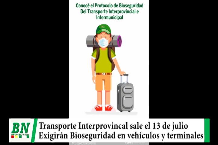 Transporte Interprovincial sale el 13 de julio y deben cumplir bioseguridad, 13 municipios esperan