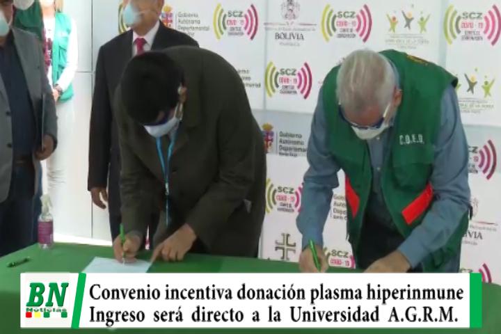 Costas y Rosas firman convenio que permitirá a donantes de plasma ingreso directo a la Unversidad