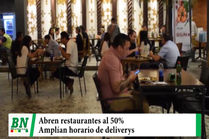 Municipio autoriza desde este lunes apertura de restaurantes al 50% y amplía horario de deliverys