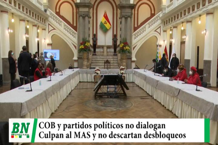 Elección 2020, Diálogo sin la COB y partidos políticos mayoritarios, responsabilizan al MAS, TSE puso fecha a elección