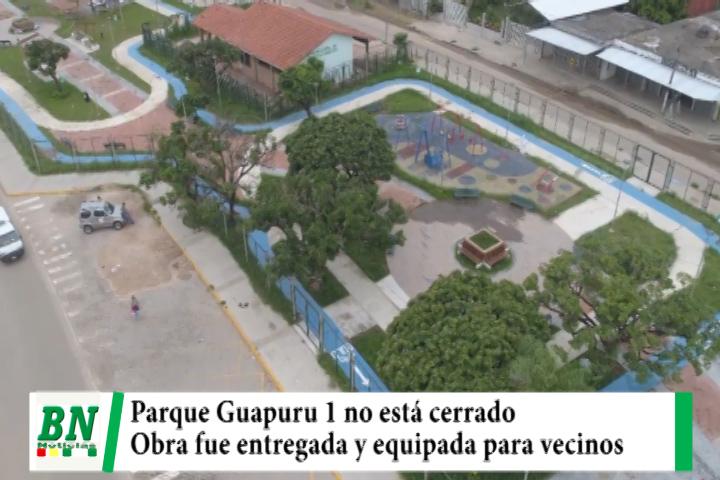 Parque Guapuru 1 fue entregado y equipado para uso de vecinos y este fin de semana será abierto