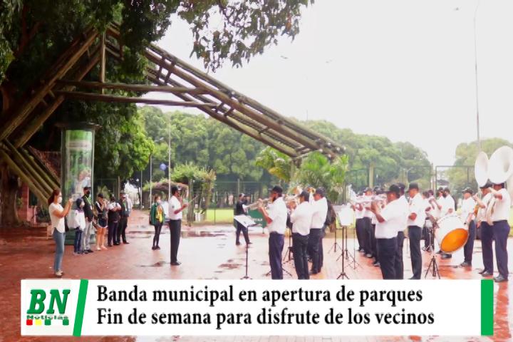 Banda municipal con el Viva Santa Cruz dio inicio a la apertura de Parques Urbanos para los vecinos