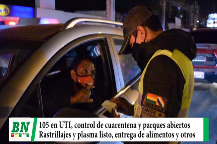 Alerta coronavirus, 105 en UTIs, y controles exigentes, abren parques y disponen de 500 dosis de plasma, entregan alimentos