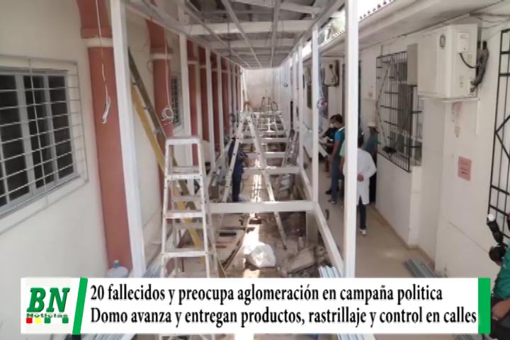 Alerta coronavirus, 20 fallecidos y preocupa aglomeración en campañas, domo avanza y entregan productos, control y rastrillajes siguen