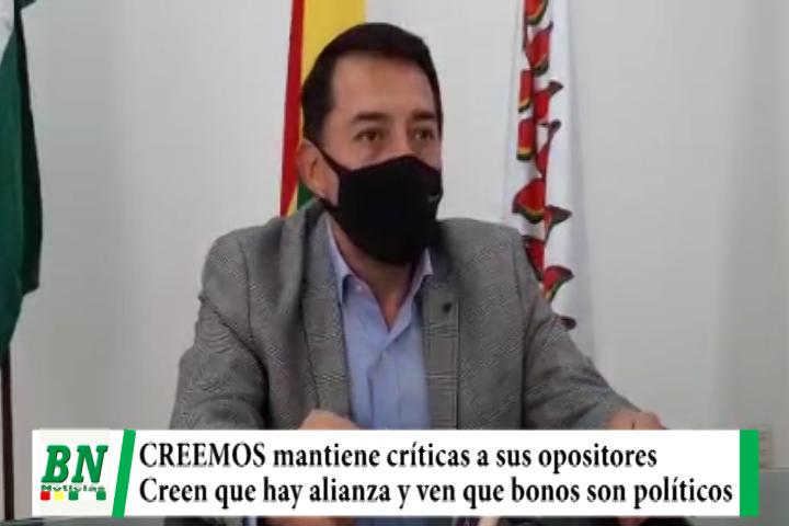 CREEMOS critica a sus opositores y cree que hay alianza entre el MAS, Mesa y juntos y ven que ofrecen bonos