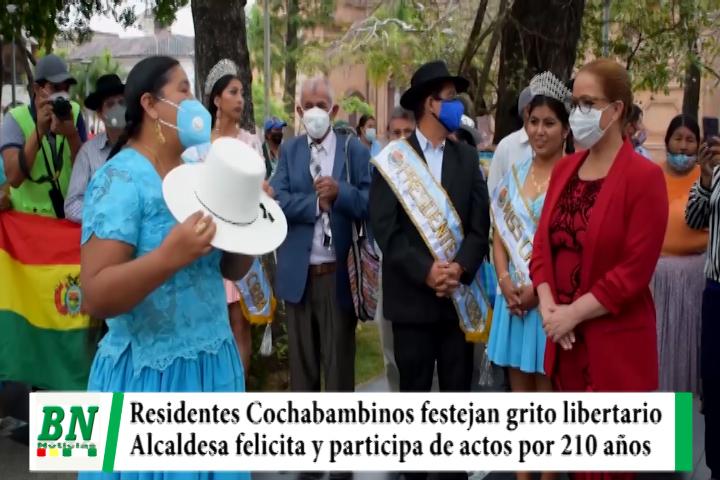 Residentes Cochabambinos festejam 210 años de grito libertario y Alcaldesa Cruceña felicita y participa de actos