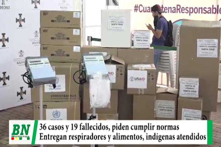 Alerta coronavirus, 36 nuevos y 19 fallecidos, piden cumplir bioseguridad mientras entregan respiradores y alimentos, indígenas atención